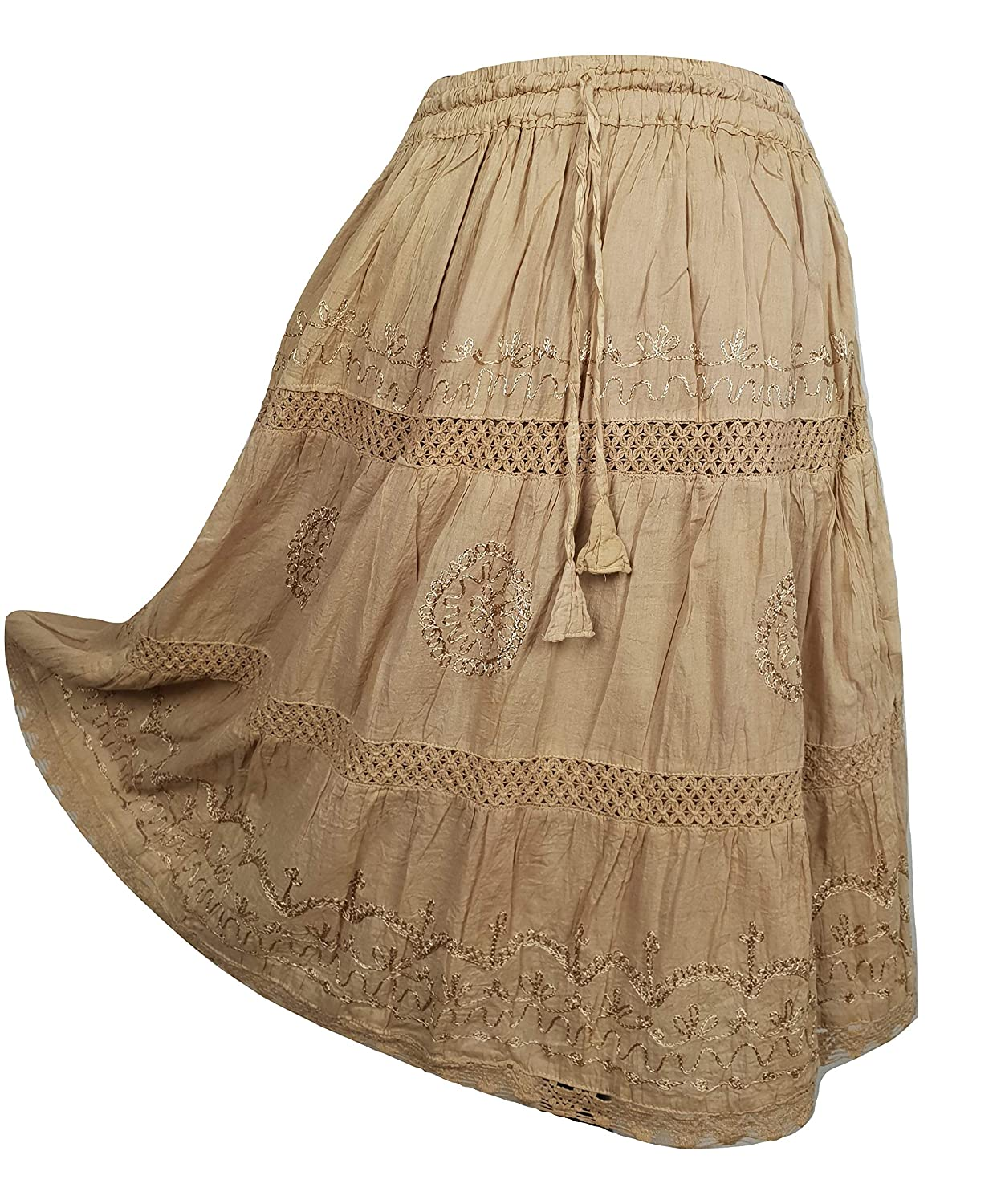 Cotton Summer Skirt Midi Boho Hippie Crochet Lace Tiered One Size 10 12 14 16 18