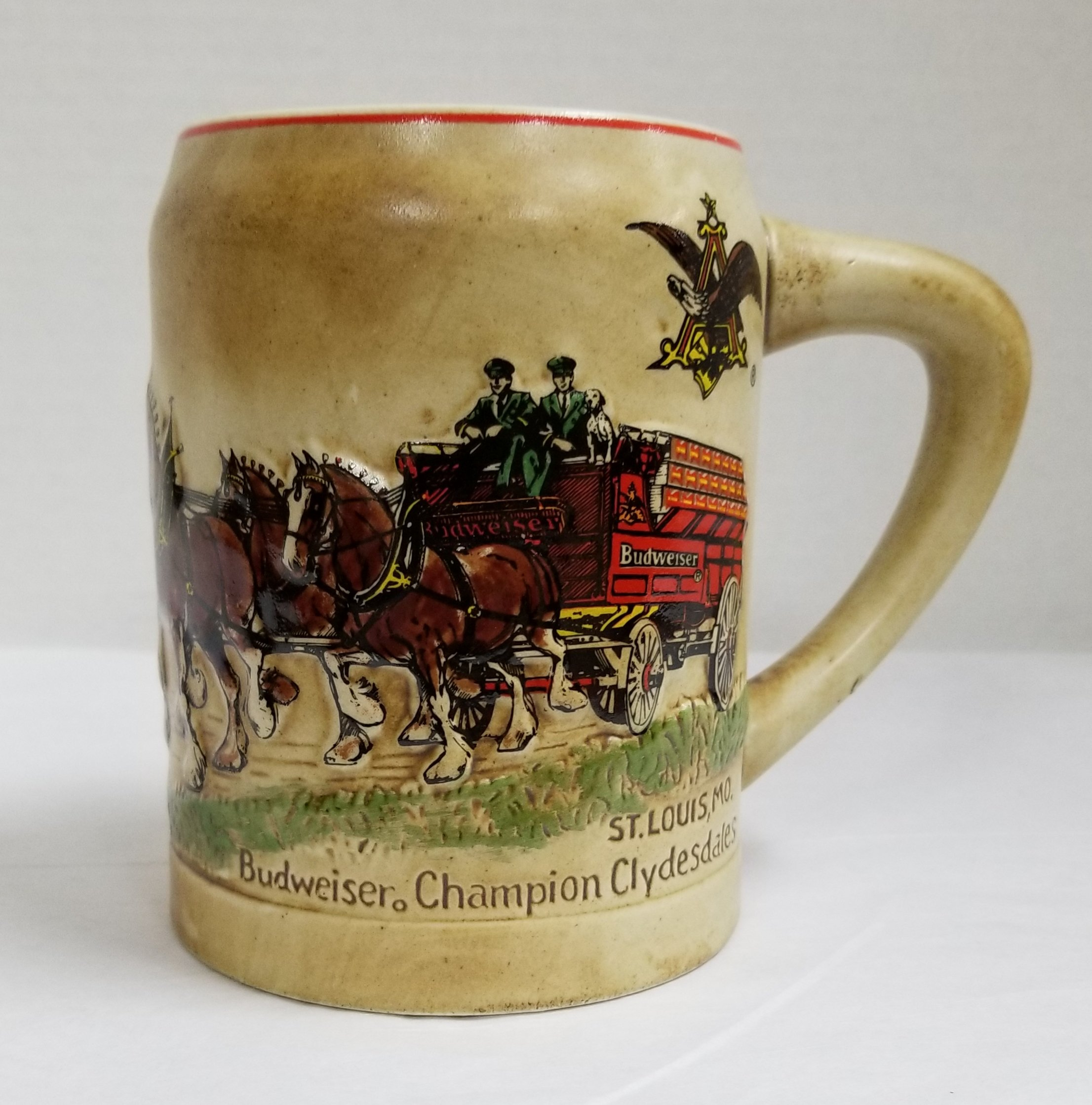 Vintage -1980 BUDWEISER Champion Clydesdales STEIN (approx. 5'' Tall) - CS19 - FIRST ISSUE Holiday Series STEIN - by CERAMARTE (Made in Brazil) / (Anheuser-Busch)