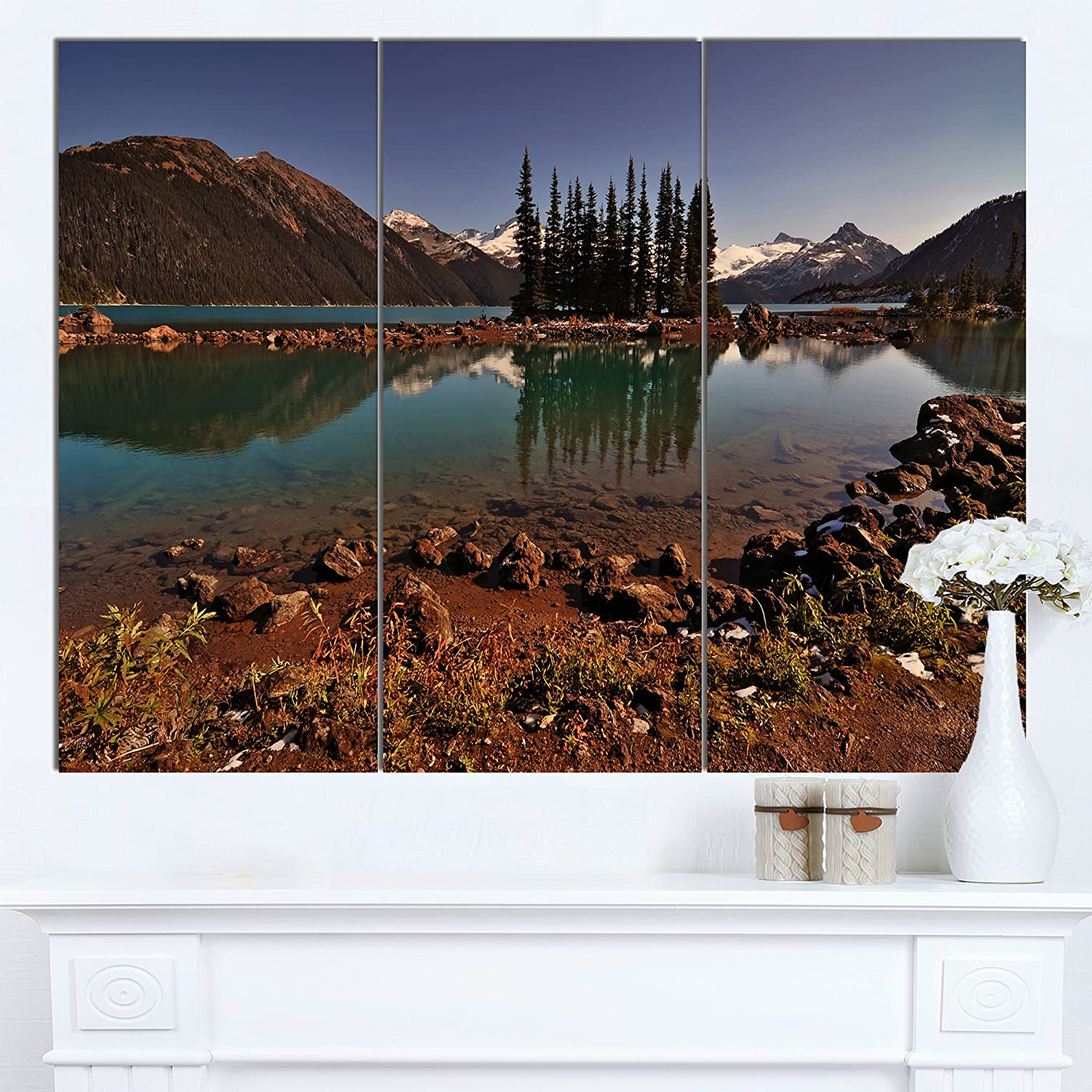 Extra Large Landscape Glossy Metal Wall Art,Brown,60x32 Designart MT14412-373 Lake /& Pine Trees in Evening