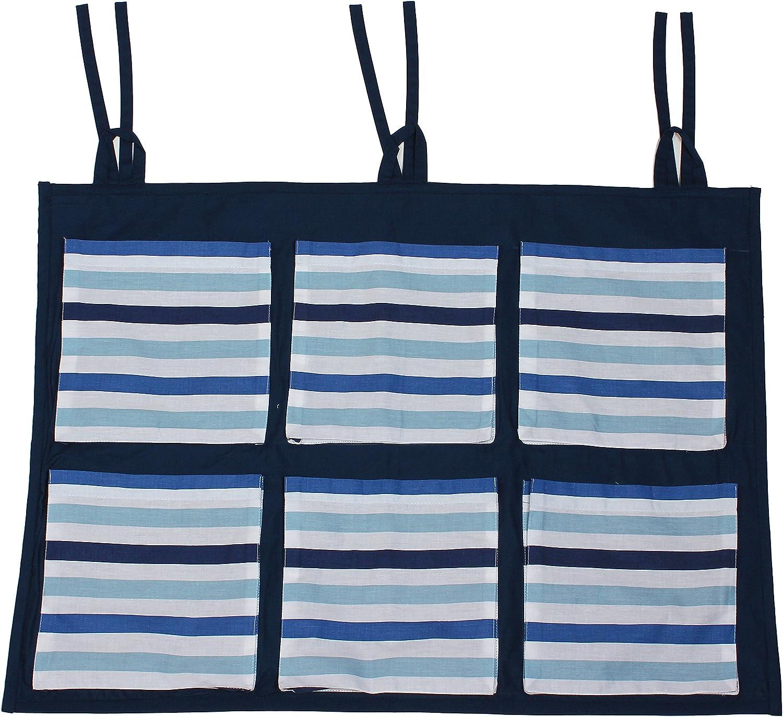 Blue Stripes Bacati Little Sailor Wall//Crib Storage Organizer