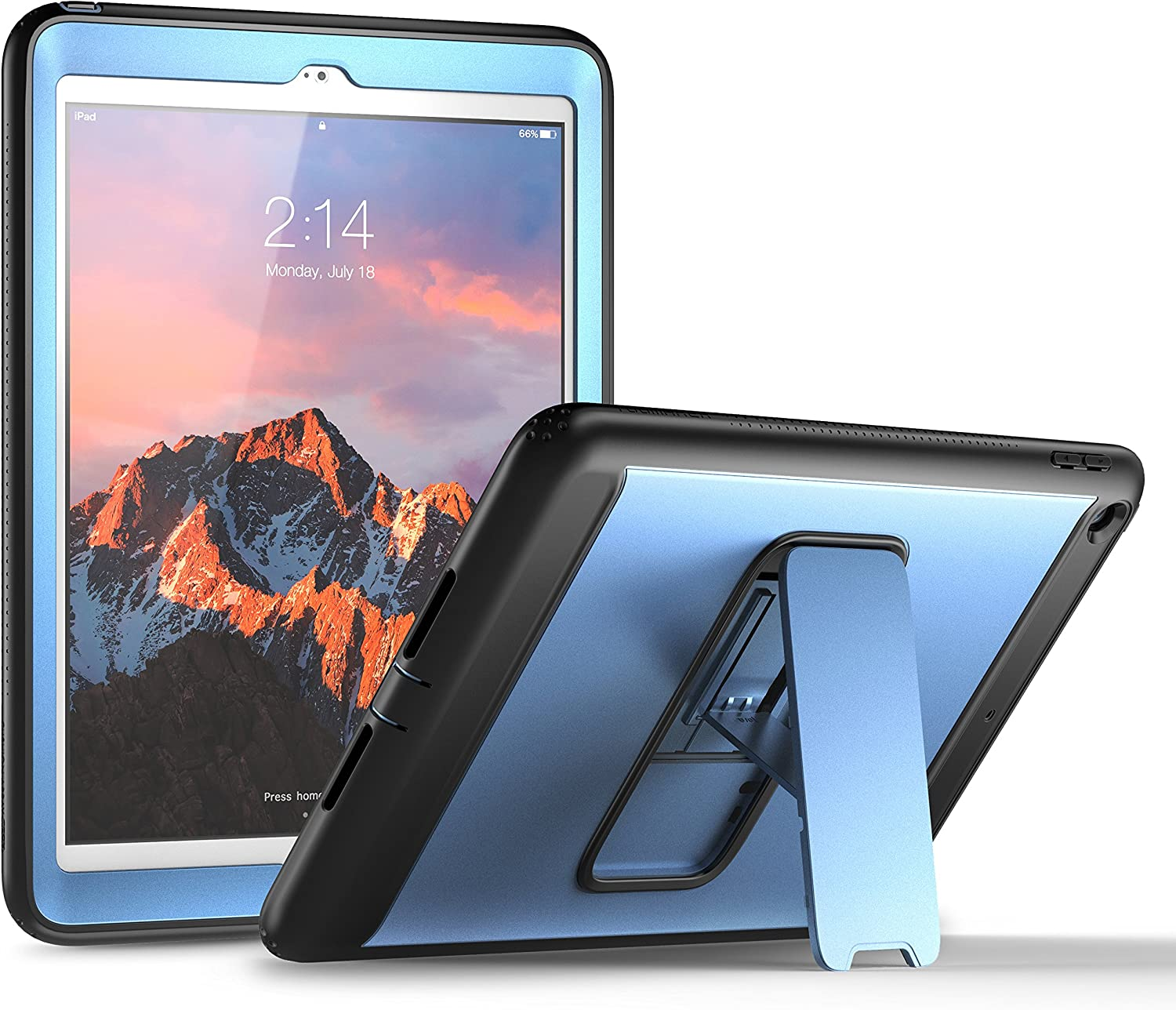 YOUMAKER New iPad 9.7 Case 2018/2017, Heavy Duty Kickstand with Built-in Screen Protector Full-body Shockproof Protective Case Cover for Apple iPad 9.7 inch 2017/2018 5th/6th Gen (Blue/Black)