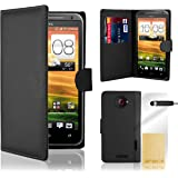 32nd® Book wallet PU leather case cover for HTC One X + screen protector, cleaning cloth and touch stylus - Black