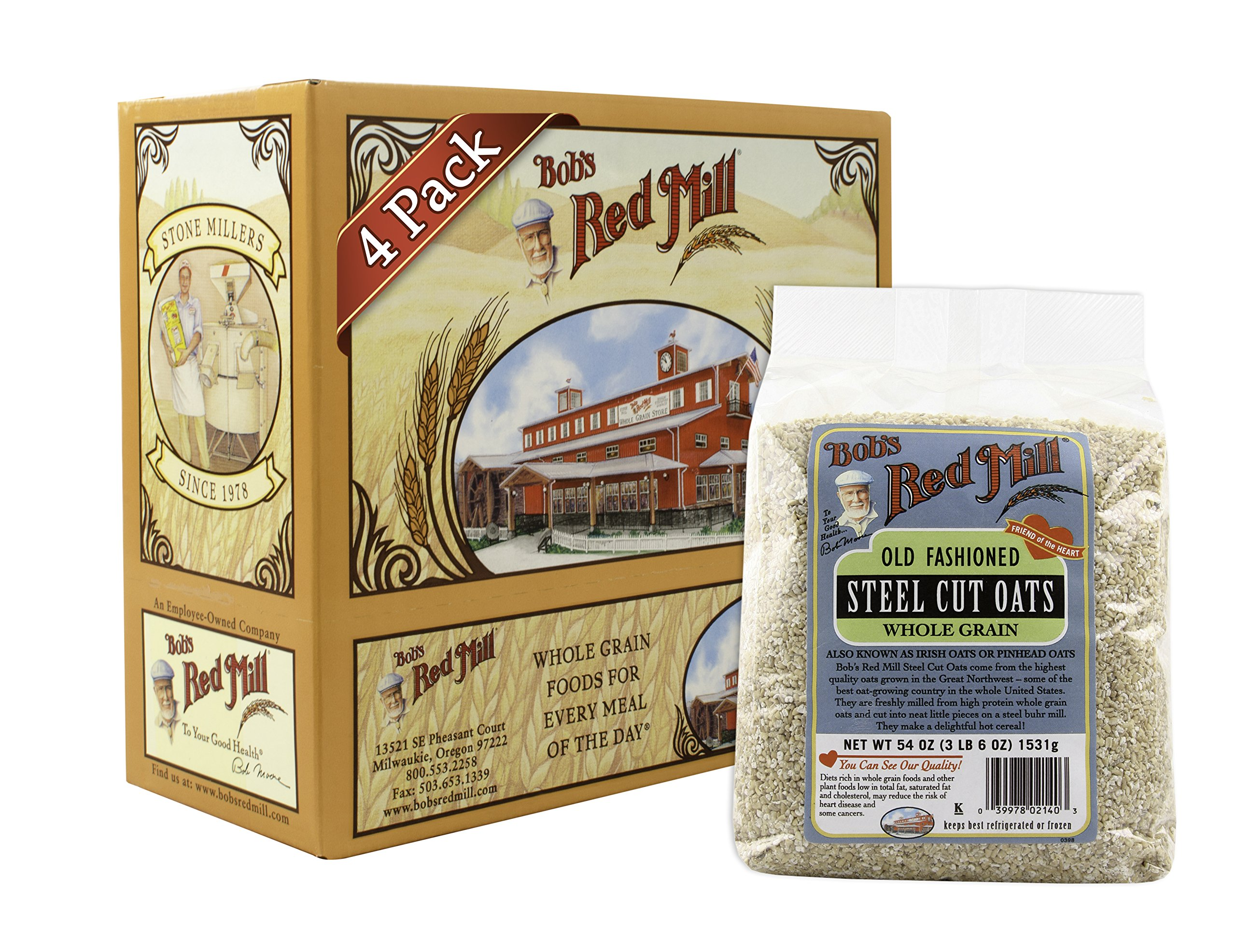 Bob's Red Mill Oats Steel Cut, 54 Ounce (Pack of 4)