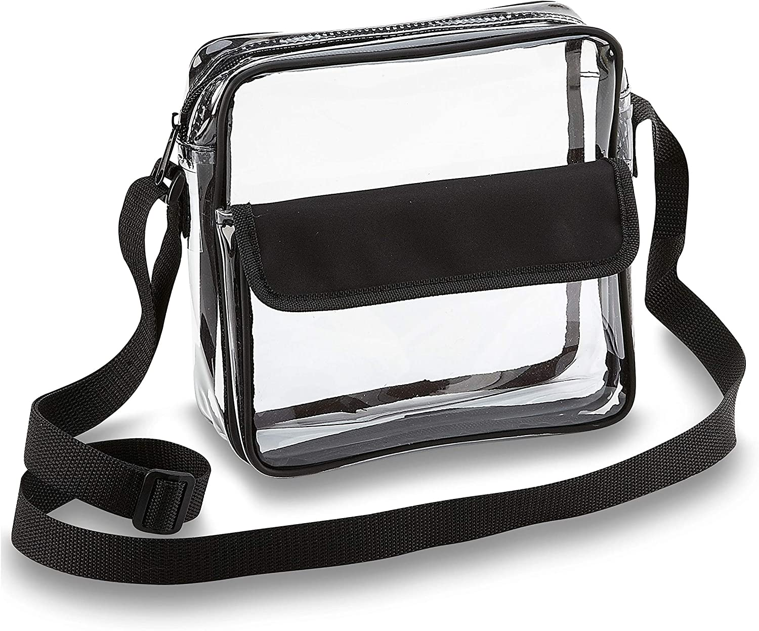 Clear Crossbody Messenger Shoulder Bag with Zipper Closure Adjustable Strap NFL Stadium Approved Clear Bags For Women and Men