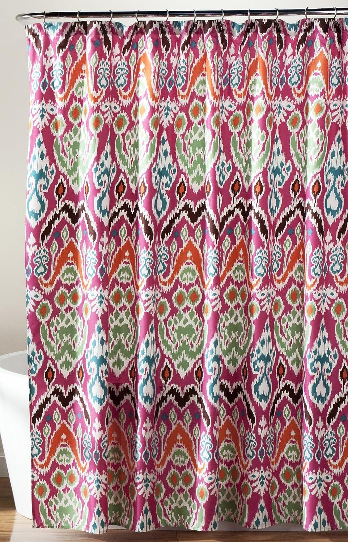 Blue ikat shower curtain - Amazon Com Lush Decor Jaipur Ikat Shower Curtain 72 X 72 Fuchsia Home Kitchen