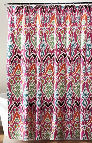 Amazon.com: Lush Decor Jaipur Ikat Shower Curtain, 72 x 72 ...