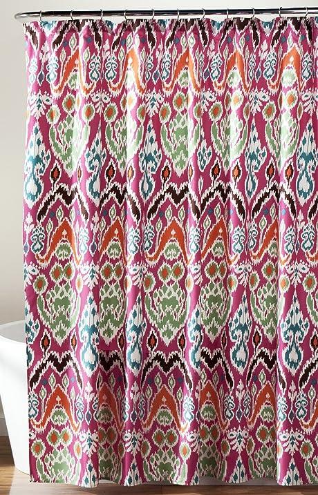 Lush Decor Jaipur Ikat Shower Curtain, 72 X 72u0026quot;, Fuchsia