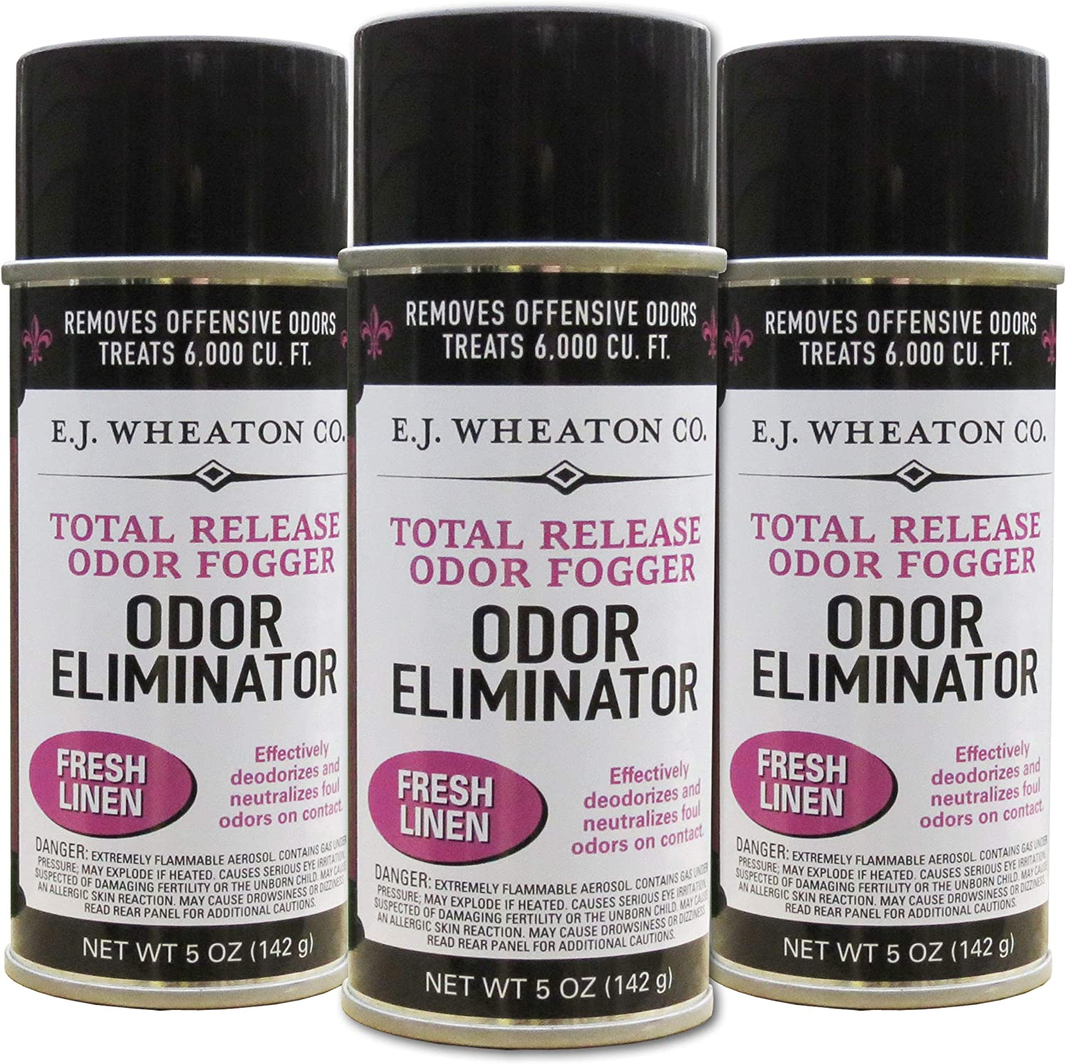 E.J. Wheaton Co. Odor Eliminator, Total Release Odor Fogger, 3 Pack, Effectively Deodorizes and Neutralizes Foul Odors on Contact, Fresh Linen (5 OZ)