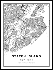 Skanndi Staten Island Map Print, New York City NYC NY USA Map Art Poster, Modern Wall Art, Street Map Artwork 9x11