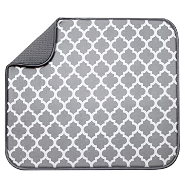 S&T Microfiber Dish Drying Mat, 16  x 18 , White Trellis