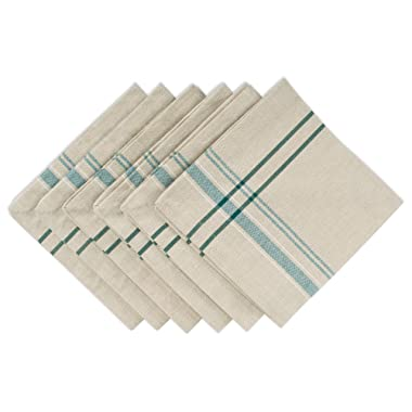 DII 100% Cotton Oversized Basic Everyday 20x20 Napkin Set of 6, Teal French Stripe Napkin-20 x 20