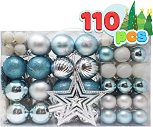 Joiedomi 110 Pcs Blue, White, and Silver Christmas Assorted Ornaments with a Silver Star Tree Topper, Shatterproof Christmas Ornaments for Holidays, Party Decoration, Tree Ornaments, and Events