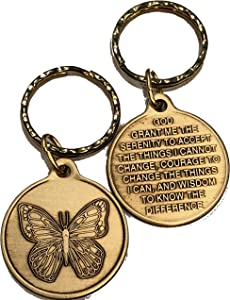 Butterfly with Serenity Prayer Ripple Ring Keychain