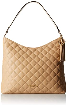 Amazon.com: Calvin Klein Quilted Leather Hobo Bag, Nude, One Size ... : calvin klein quilted handbag - Adamdwight.com