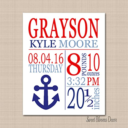 nautical birth printnautical birth announcement nautical baby gift nautical nursery decorations