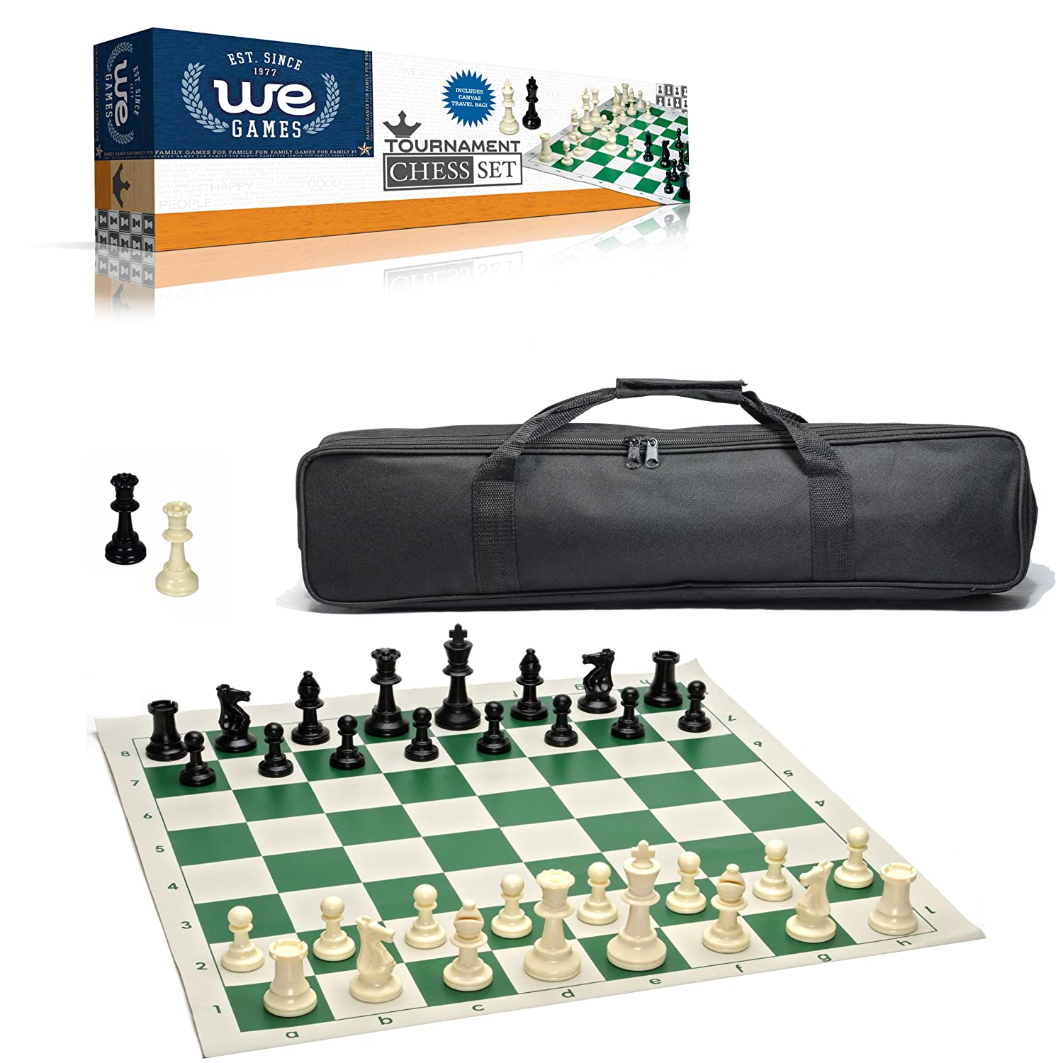 93b99c501b579 Amazon.com: WE Games Complete Tournament Chess Set – Plastic Chess Pieces  with Green Roll-up Chess Board and Travel Canvas Bag: Toys & Games