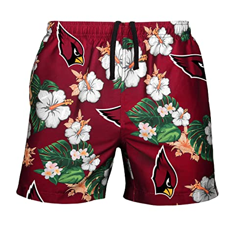 NFL Arizona Cardinals Mens Team Logo Floral Hawaiin Swim Suit Trunksteam  Logo Floral Hawaiin Swim Suit 3388d76e3
