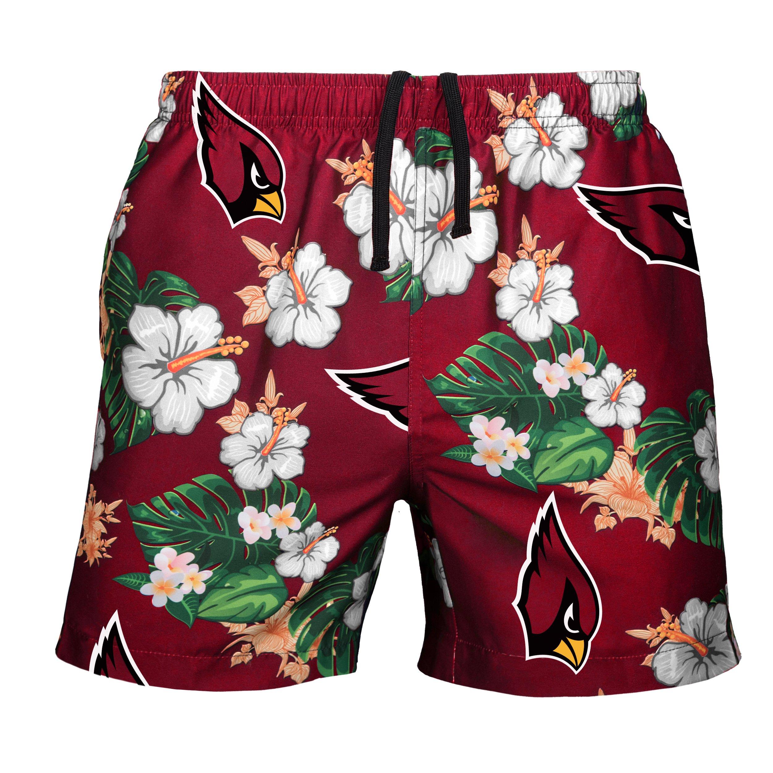 FOCO Men's Team Logo Floral Hawaiin Swim Suit Trunks