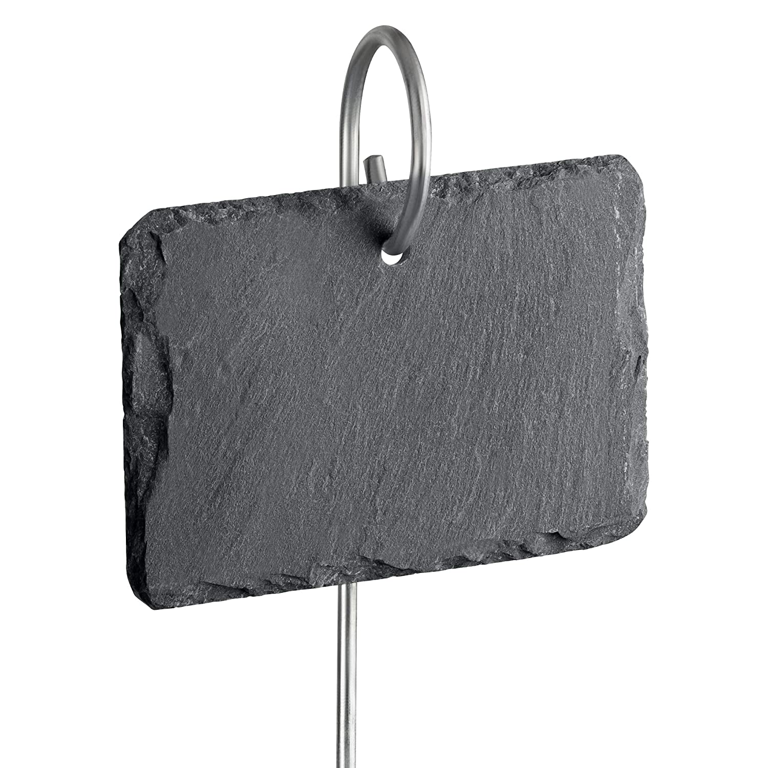 "GardenMate 10-Pack Natural Style Slate Plant Labels (4"" x 2 3/4"") Hanging from a Stainless Steel Metal Rod (22"")"
