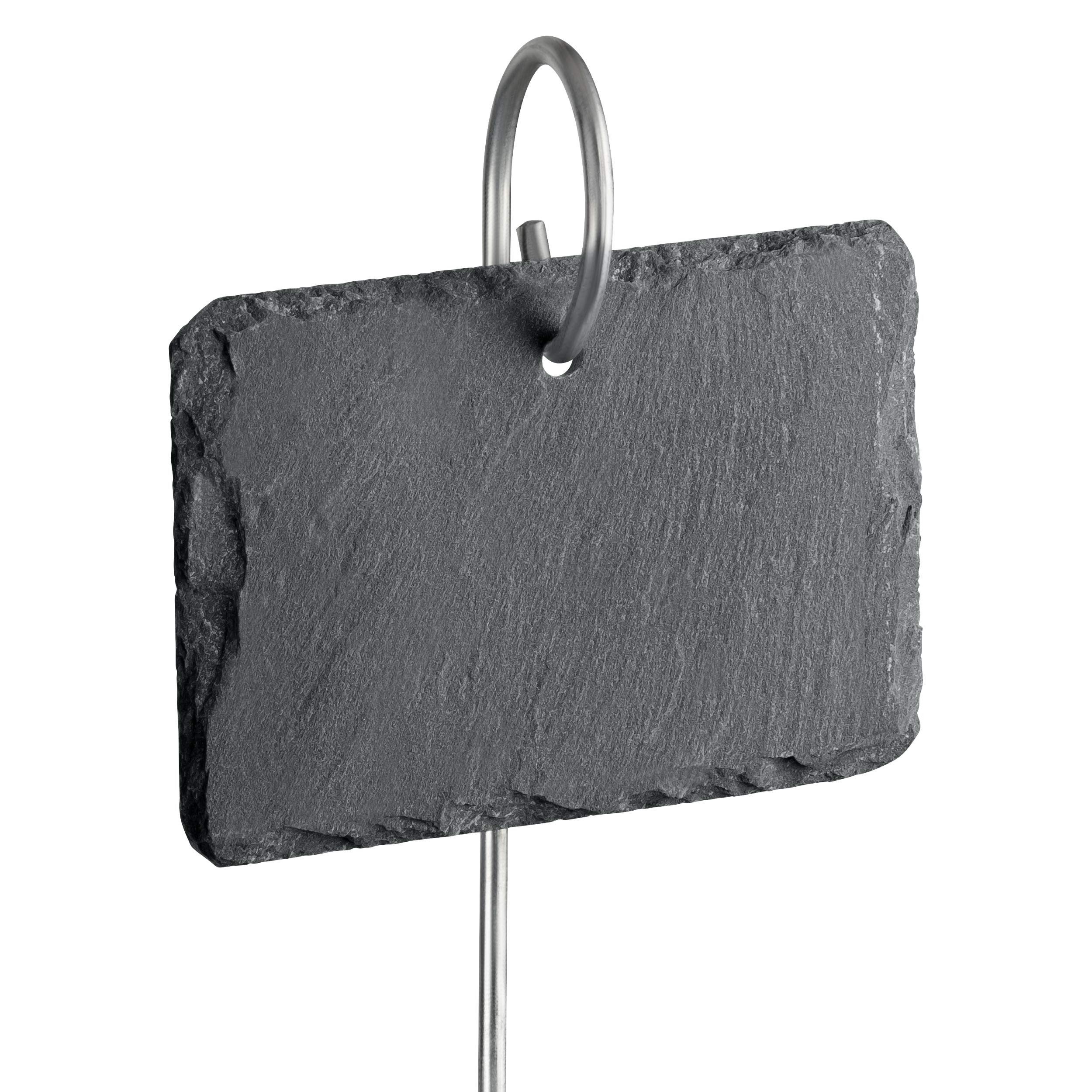 GardenMate 10-Pack Natural Style Slate Plant Labels (4'' x 2 3/4'') Hanging from a Stainless Steel Metal Rod (22'') by GardenMate