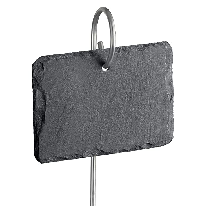 """GardenMate 10-Pack Natural Style Slate Plant Labels (4"""" x 2 3/4"""") Hanging from a Stainless Steel Metal Rod (22"""")"""