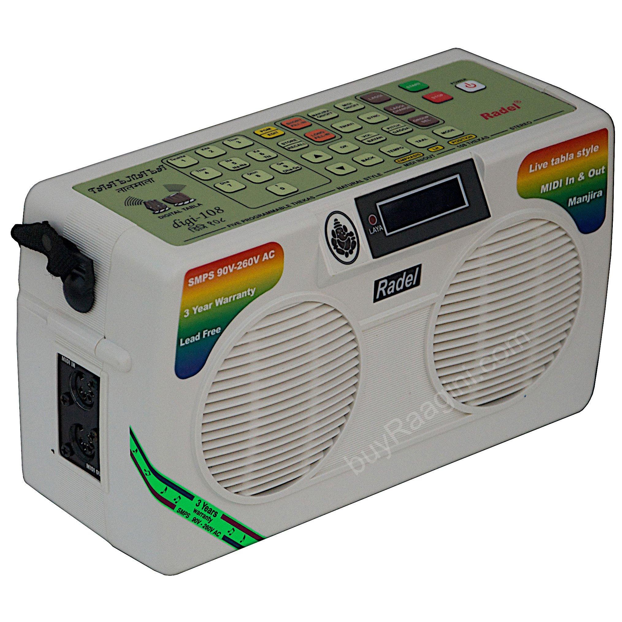 Electronic Tabla - RADEL Taalmala - Digi 108, Electronic Tabla & Manjira - Tabla Sampler, DJ Tabla Sound Machine, Instruction Manual, Power Cord, Bag (US-PDI-AAF) by Radel at buyRaagini.com (Image #2)
