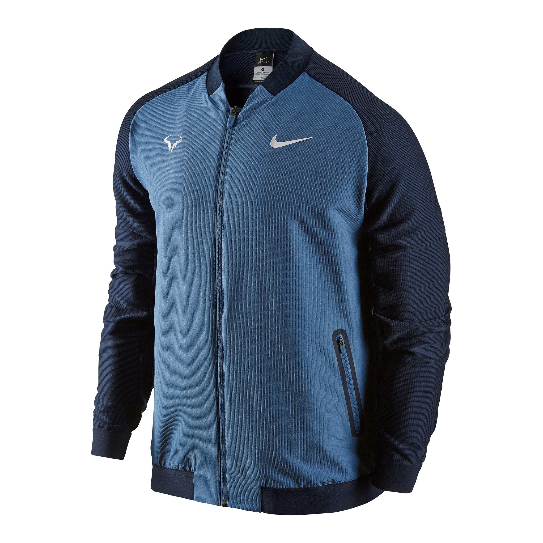 Men's Nike Premier Rafael Nadal Tennis Jacket Ocean Blue 728986-404 (L)