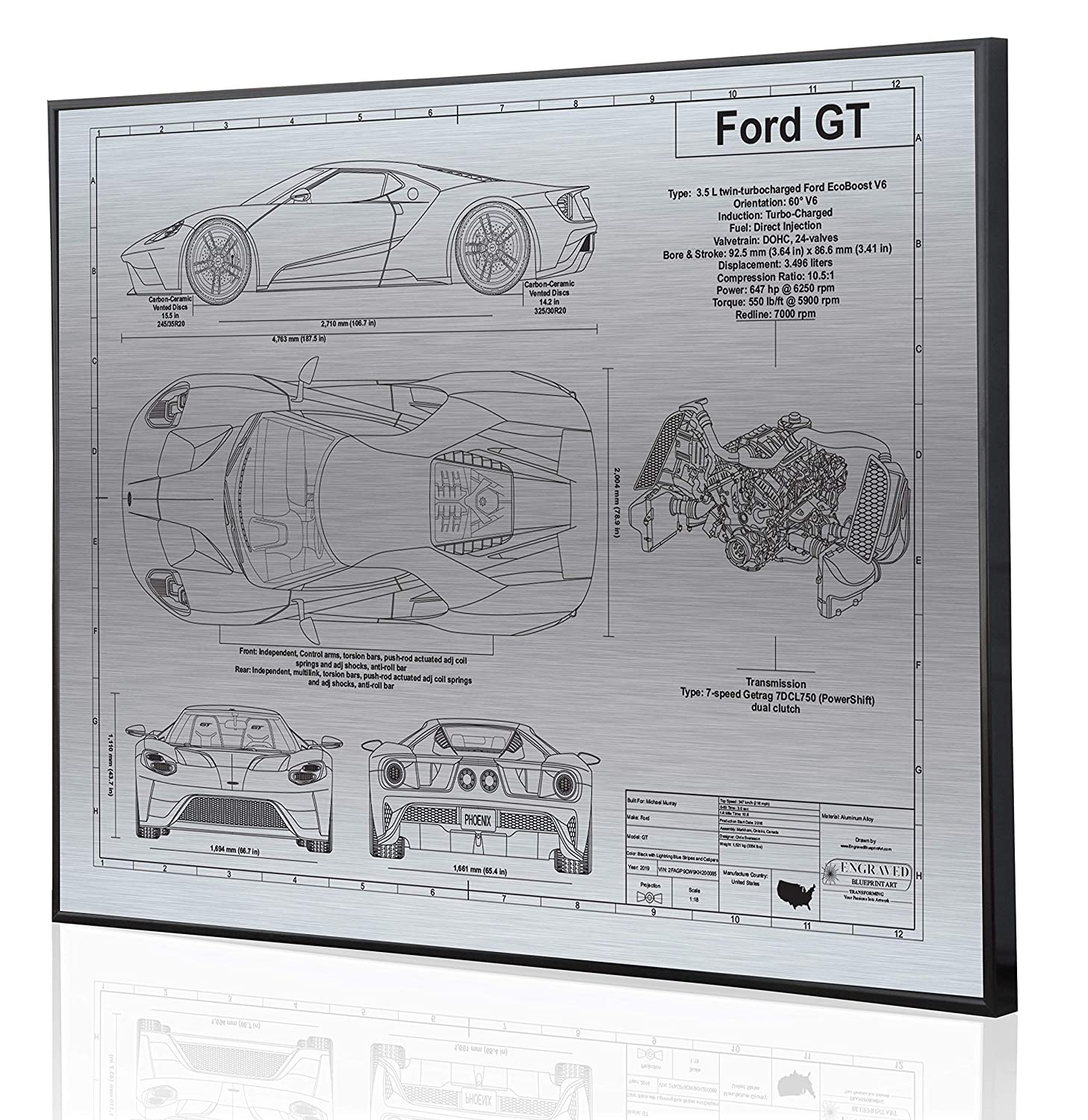 amazon com: ford gt 2017-19 blueprint artwork-laser marked &  personalized-the perfect ford gifts: handmade