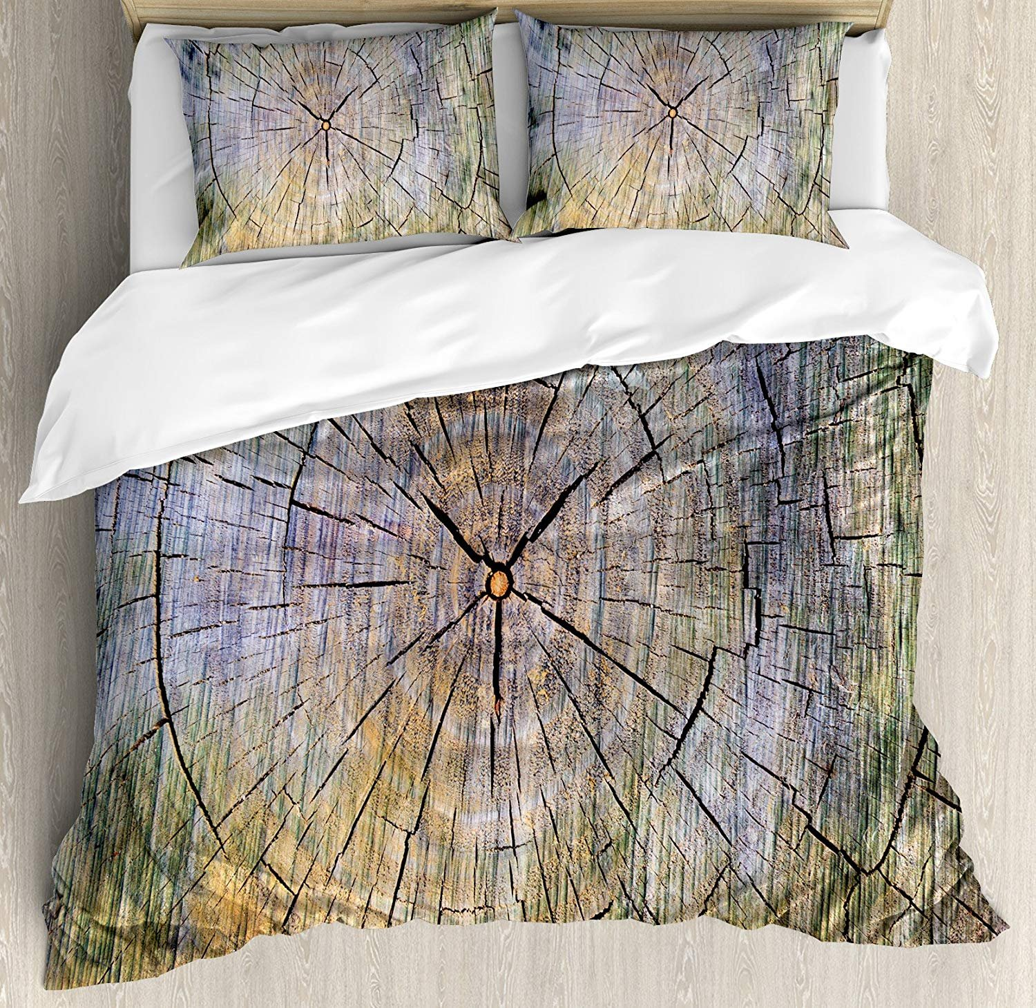Duvet Cover Set Rustic Annual Rings of Wood Growth Aging Theme Dirty Inner Tree Body Branch Whorls Width Design Ultra Soft Durable Twill Plush 4 Pcs Bedding Sets for Kids/Teens/Adults Twin Size