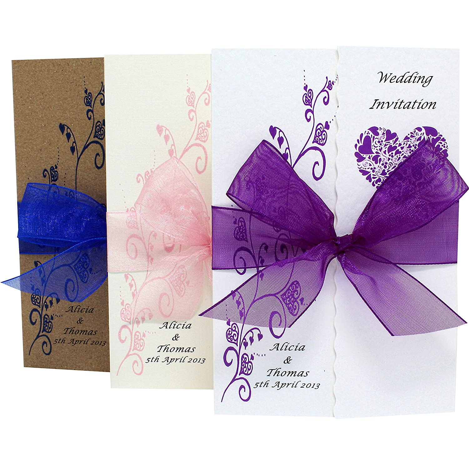 60 Handmade Personalised Gatefold Wedding Invitations with ribbon and envelopes - FREE P+P (60) forgetmenotdesigns911