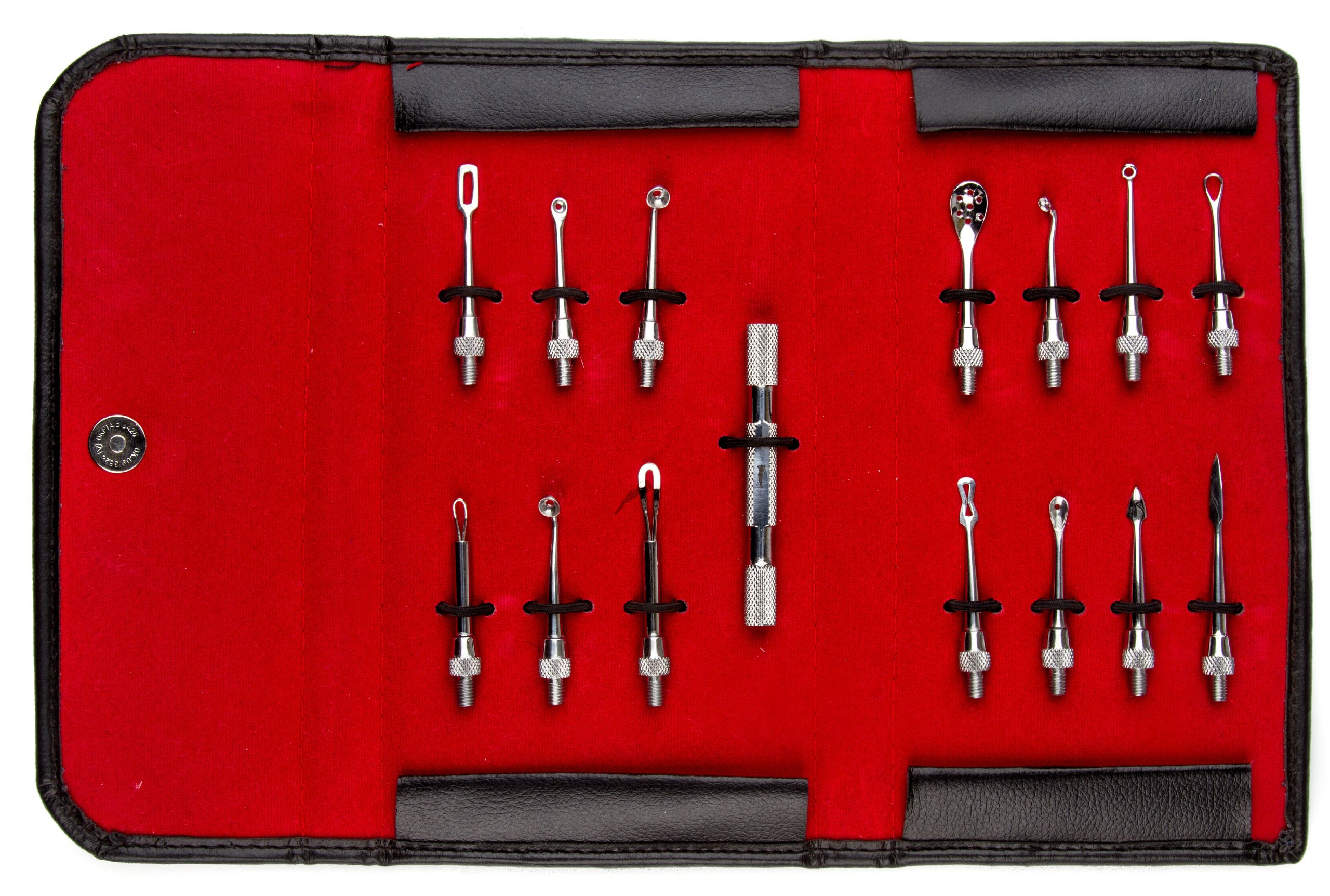 Princess Care 15pc Blackhead Remover Set with leather case (1 handle 14 Tips) - 420 Stainles Steel