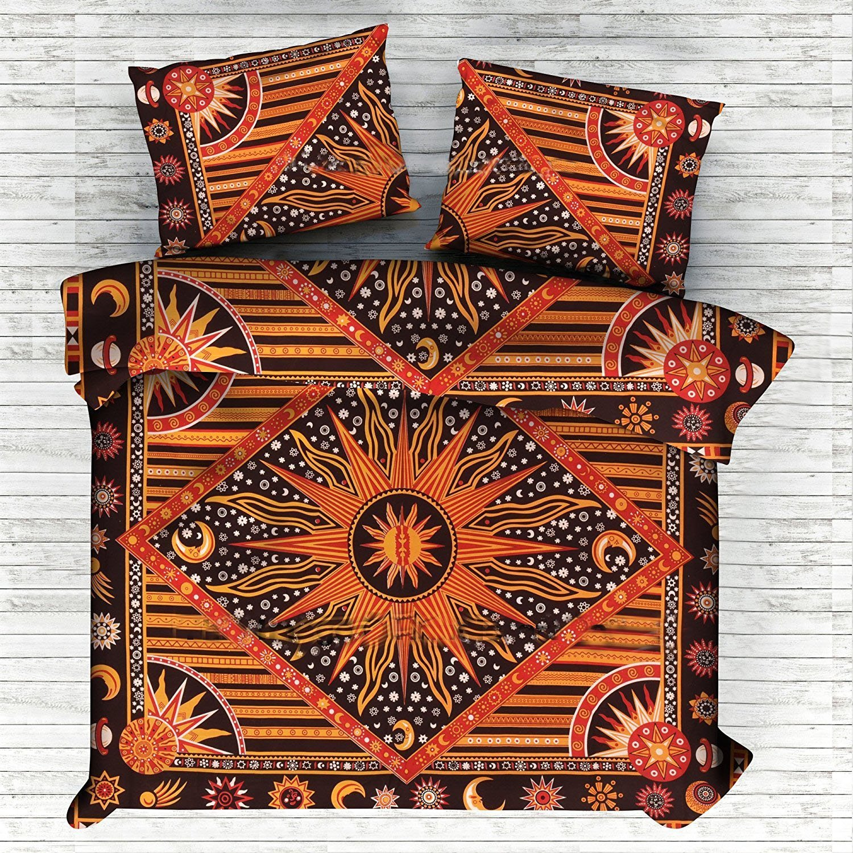 Exclusive India Bohemian Sun Moon Doona Duvet Cover Boho Hippie Mandala Tapestry Duvet Cover Hippie Boho Quilt Cover Hippie Bohemian Comforter Cover Sun Moon Tapestry Duvet Cover BY Janki Cover