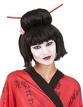 Peluca Geisha negra mujer - Única: Amazon.es: Juguetes y juegos