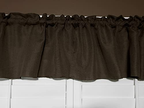 Zen Creative Designs Solid Woven Burlap Imitation Faux-Linen Polyester Valance 56 by 32 Inches Brown