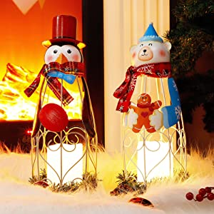 Lulu Home Lighted Christmas Table Decorations, 2 Pack 14.6 Inch Penguin Polar Bear with Battery Operated Candle Lights, Light Up Christmas Tabletop Decorations