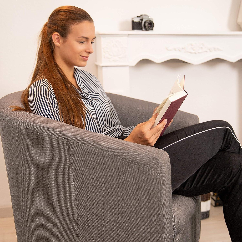 HxLxP: 77 x 67,5 x 65 cm Legno Morbida Cuscino Seduta Rimovibile Relaxdays Comoda Marrone Poltrona Anni /'50 Tonda Stile Vintage