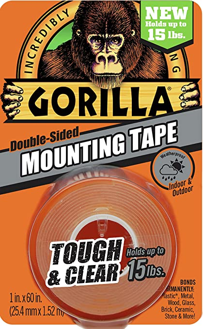 Famous Gorilla 6065001 Tough & Clear Mounting Tape, Double-Sided, 1
