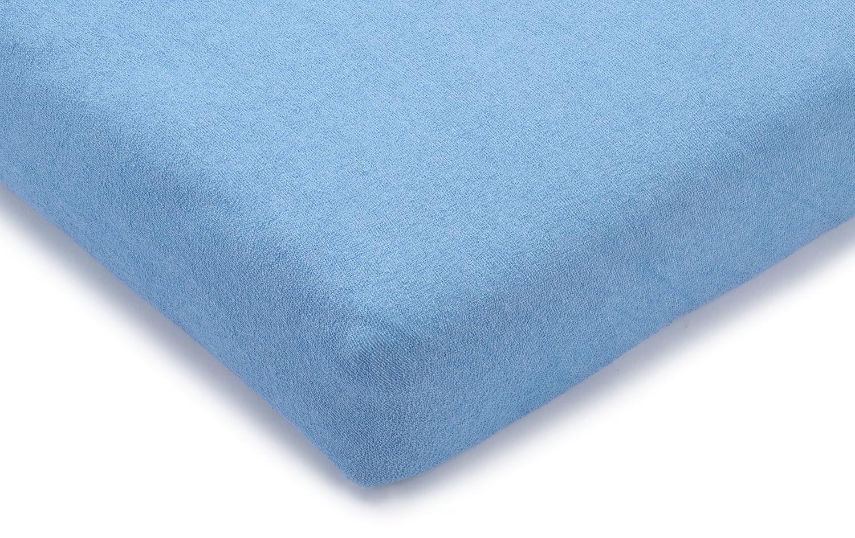 Julius Zöllner 8390349310 – Lenzuolo ad angoli per Materasso da box bimbo in spugna uni Azzurro, Misura: 75/100-100/100 cm Prezzi offerte