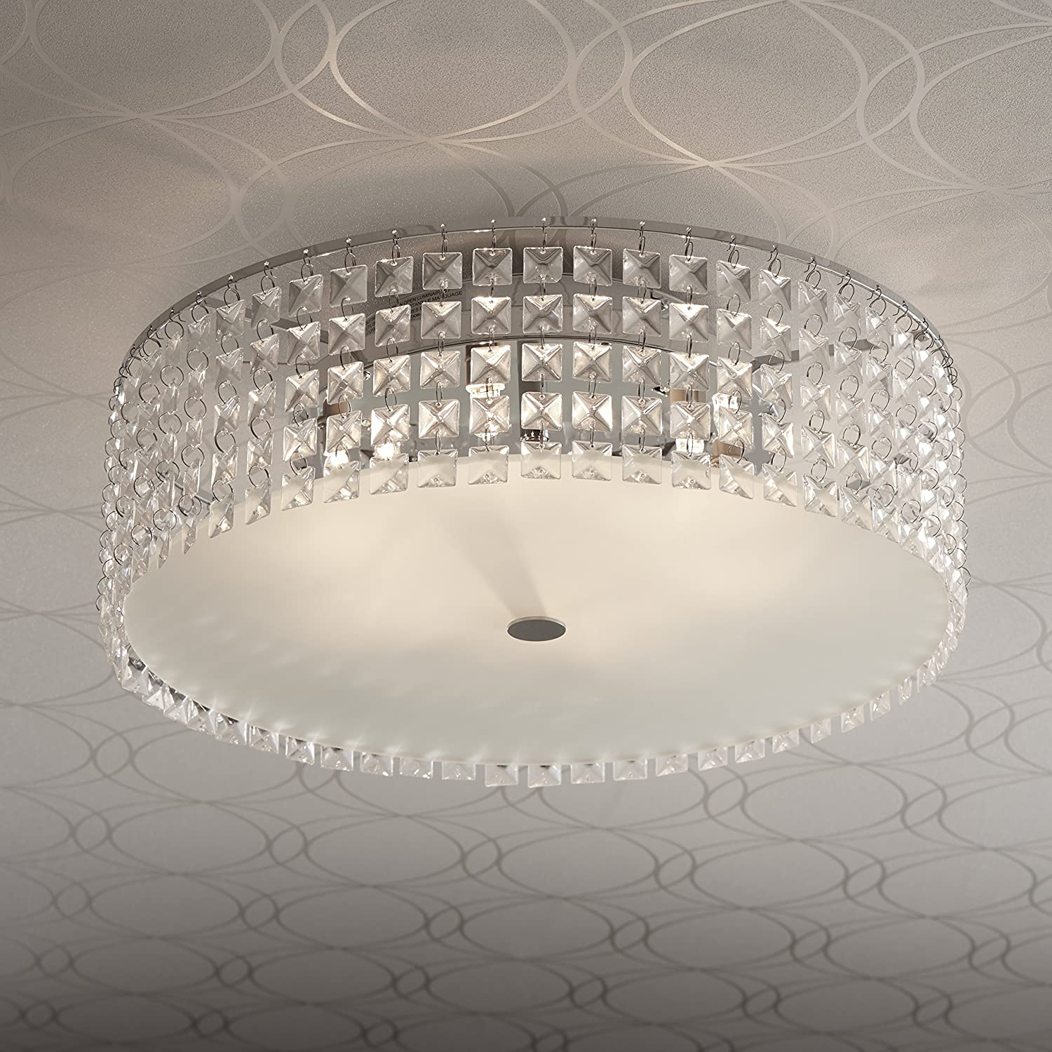 Bazz pl3416on decorative ceiling fixture dimmable easy installation bulbs included 16 chrome
