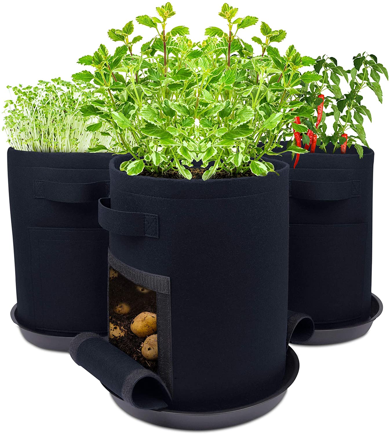 EverBounty Fabric Pots 7 Gallon Grow Bags with Saucer Trays, 2 Windows, Handles - 3-Pack-Blue - Extra Thick 400GSM Breathable Garden Container Planter - Grow Delicious Potatoes & Vegetables