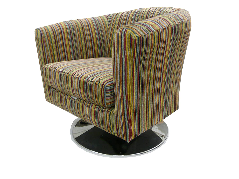Luxury traditional shape Tub chair on a chrome swivel base ...