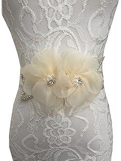 Lemandy Hecho a mano flores de organza cinturones/lazos para boda vestidos A5