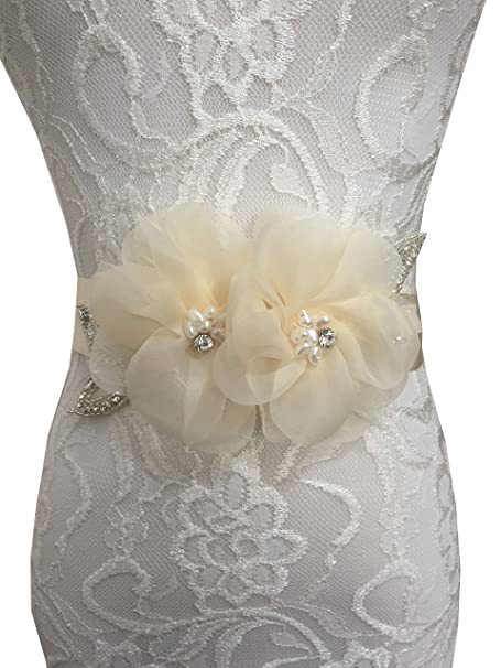 Banda de flores Lemandy, para vestido de novia, de organza, A5 Beige champán Talla única: Amazon.es: Ropa y accesorios