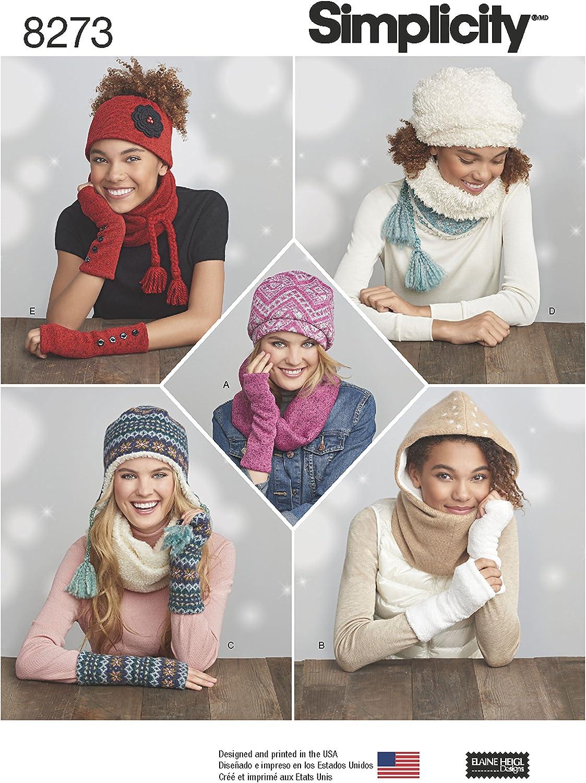 Simplicity 8273/OS pour Femme en Tricot par Temps Froid Accessoires Patron de Couture Taille Unique Blanc
