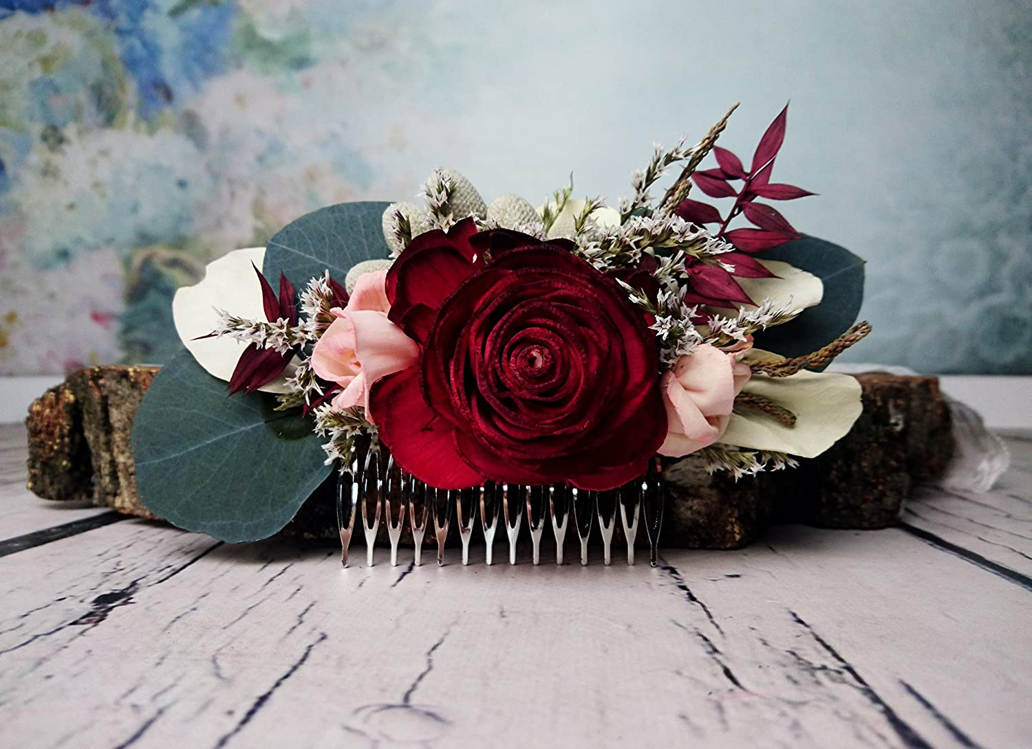 Burgundy Boho Wedding Hair Comb Bridal Hairpiece