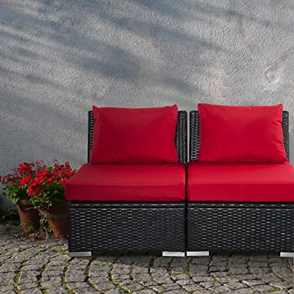 Awesome Outdoor Patio Furniture Sets Pe Rattan Wicker Sofa Sectional With Rust Red Cushions Inzonedesignstudio Interior Chair Design Inzonedesignstudiocom