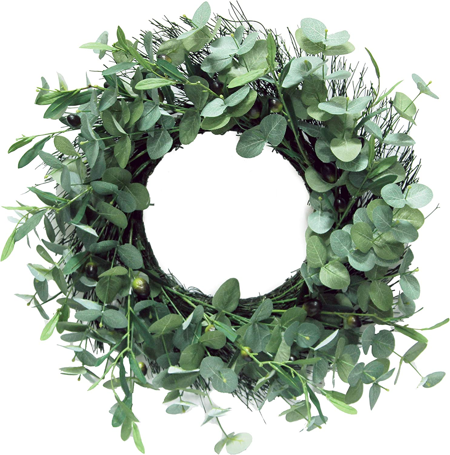 "Admired By Nature 24"" Artificial Season Wreath, Green Olive"