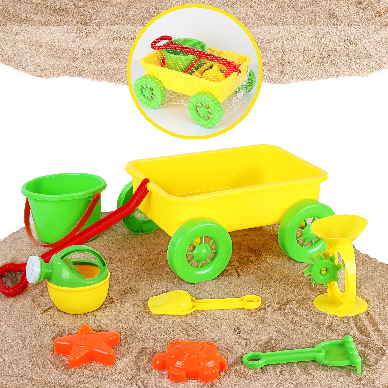 Liberty Imports Kids Beach Sand Toys   Colorful Pull Along Wagon   Outdoor Activities Educational Play Set With Sand Wheel, Watering Can, Shovel, Rake, Bucket, and 2 Sea Creature Molds (8 Pieces)
