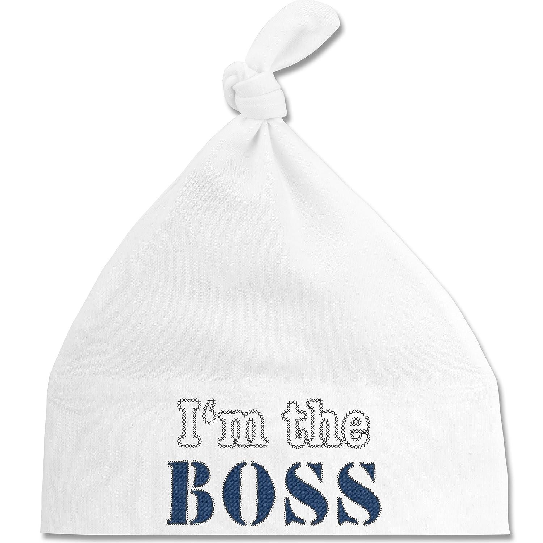 Shirtracer Up to Date Baby - I'm The Boss - wie aufgenäht - Baby Mütze mit Einfachem Knoten ALS Geschenkidee BZ15