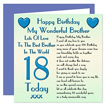 Brother 18th Happy Birthday Card Lots Of Love To The Best Brother